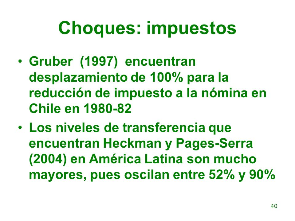 Choques: impuestos Gruber (1997) encuentran desplazamiento de 100% para la reducción de impuesto a la nómina en Chile en 1980-82.