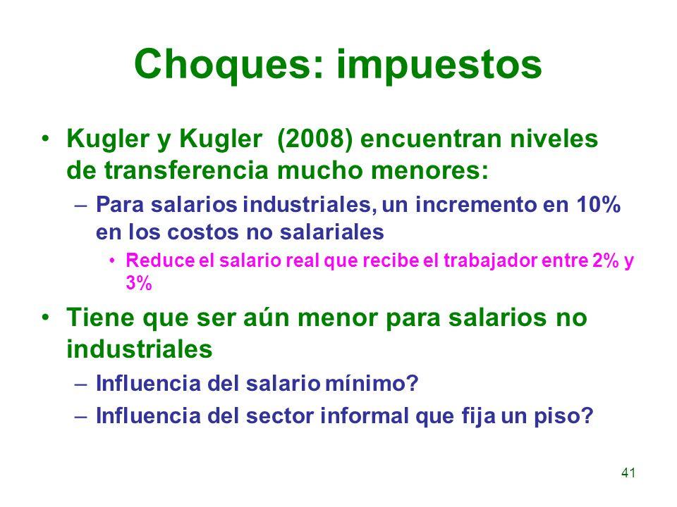 Choques: impuestos Kugler y Kugler (2008) encuentran niveles de transferencia mucho menores: