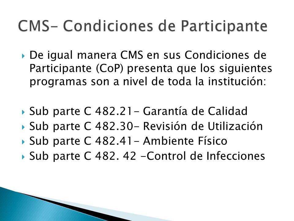 CMS- Condiciones de Participante
