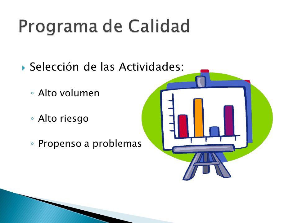 Programa de Calidad Selección de las Actividades: Alto volumen