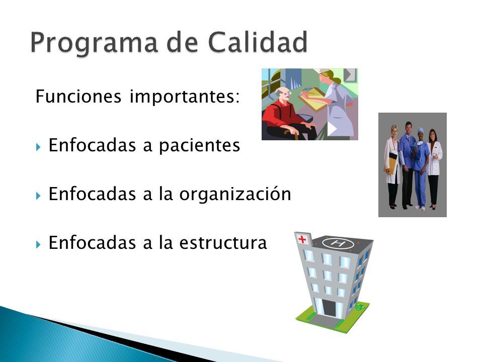 Programa de Calidad Funciones importantes: Enfocadas a pacientes