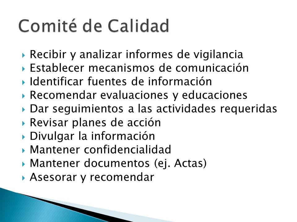 Comité de Calidad Recibir y analizar informes de vigilancia