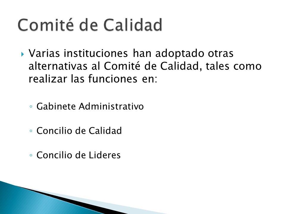 Comité de Calidad Varias instituciones han adoptado otras alternativas al Comité de Calidad, tales como realizar las funciones en: