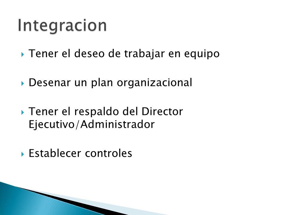Integracion Tener el deseo de trabajar en equipo