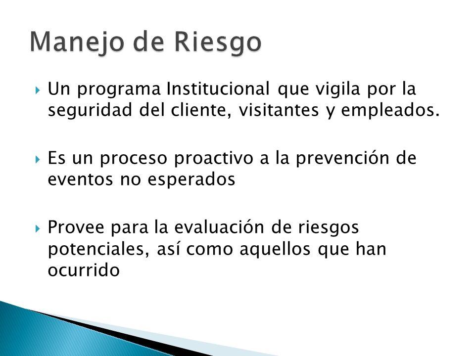 Manejo de Riesgo Un programa Institucional que vigila por la seguridad del cliente, visitantes y empleados.