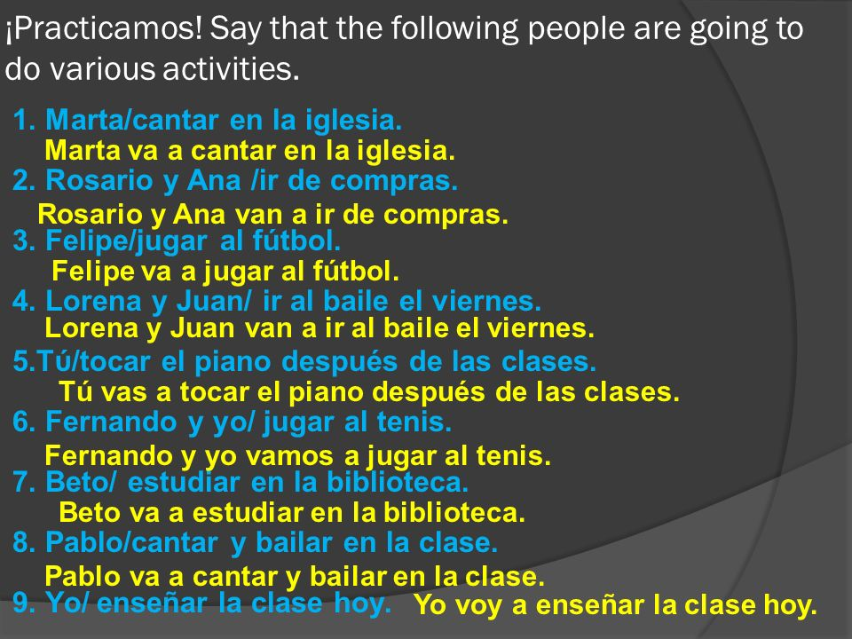 ¡Practicamos! Say that the following people are going to do various activities.