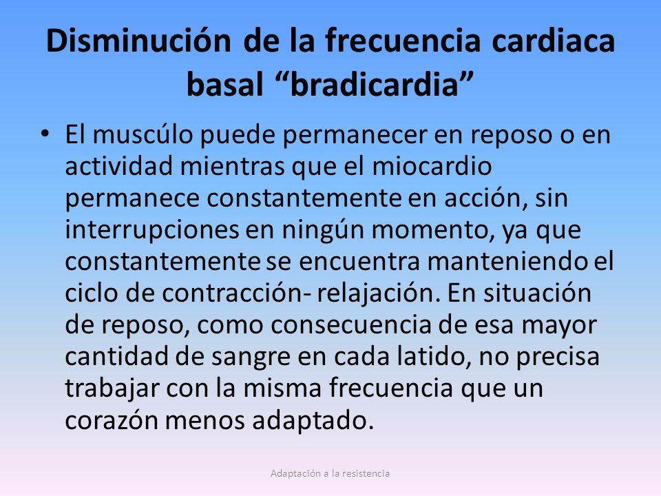 Disminución de la frecuencia cardiaca basal bradicardia