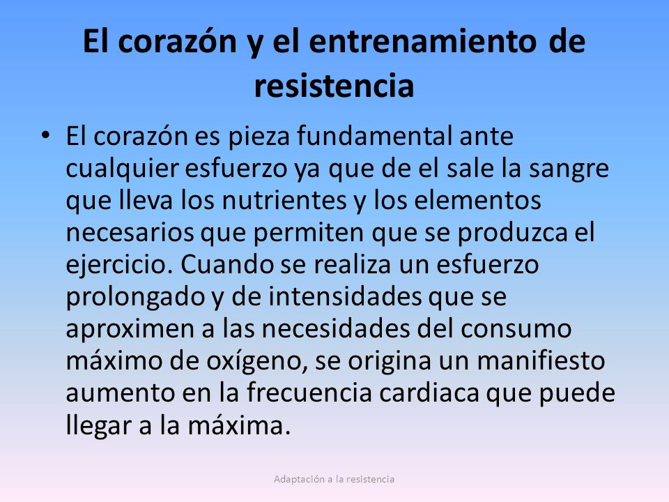 El corazón y el entrenamiento de resistencia