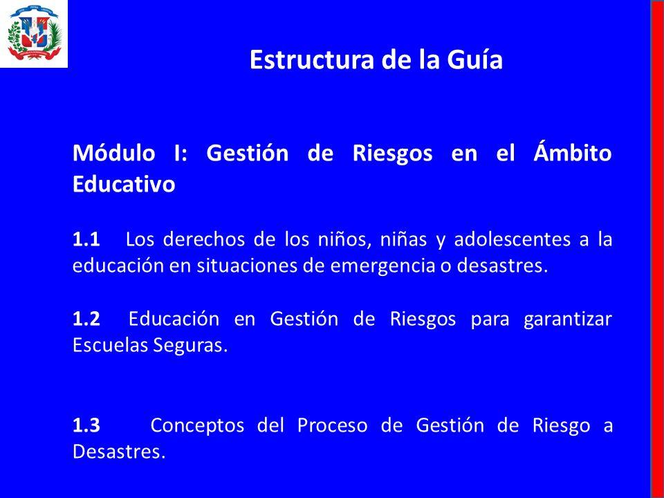 Estructura de la Guía Módulo I: Gestión de Riesgos en el Ámbito Educativo.