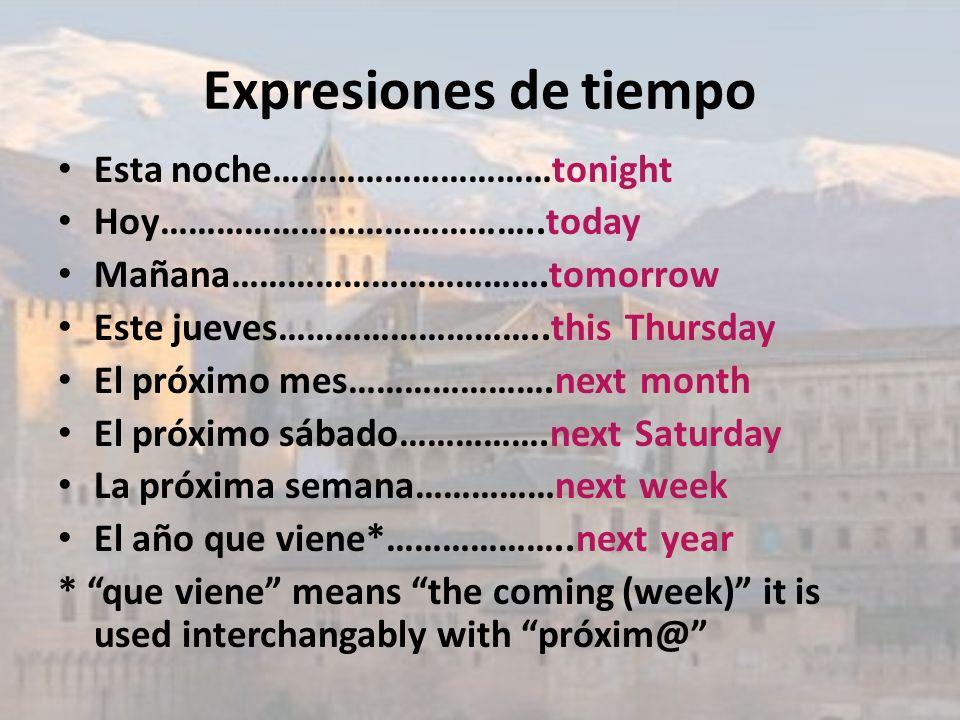 Expresiones de tiempo Esta noche…………………………tonight
