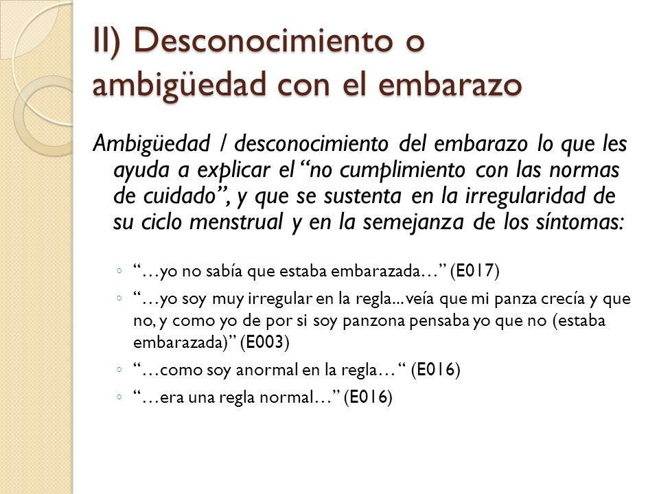 II) Desconocimiento o ambigüedad con el embarazo
