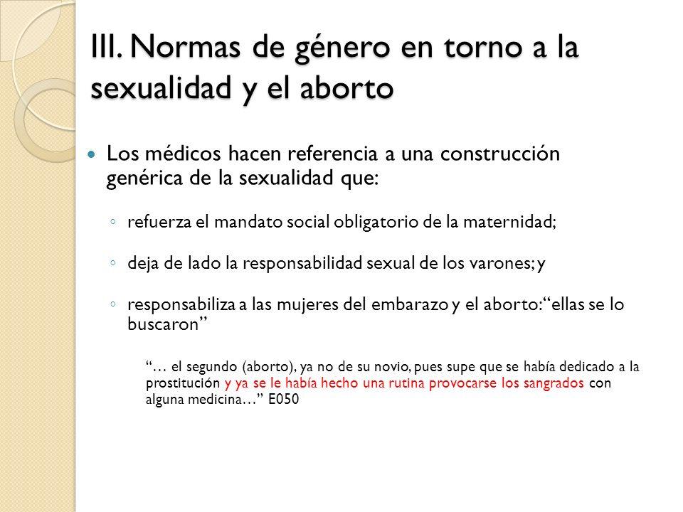 III. Normas de género en torno a la sexualidad y el aborto