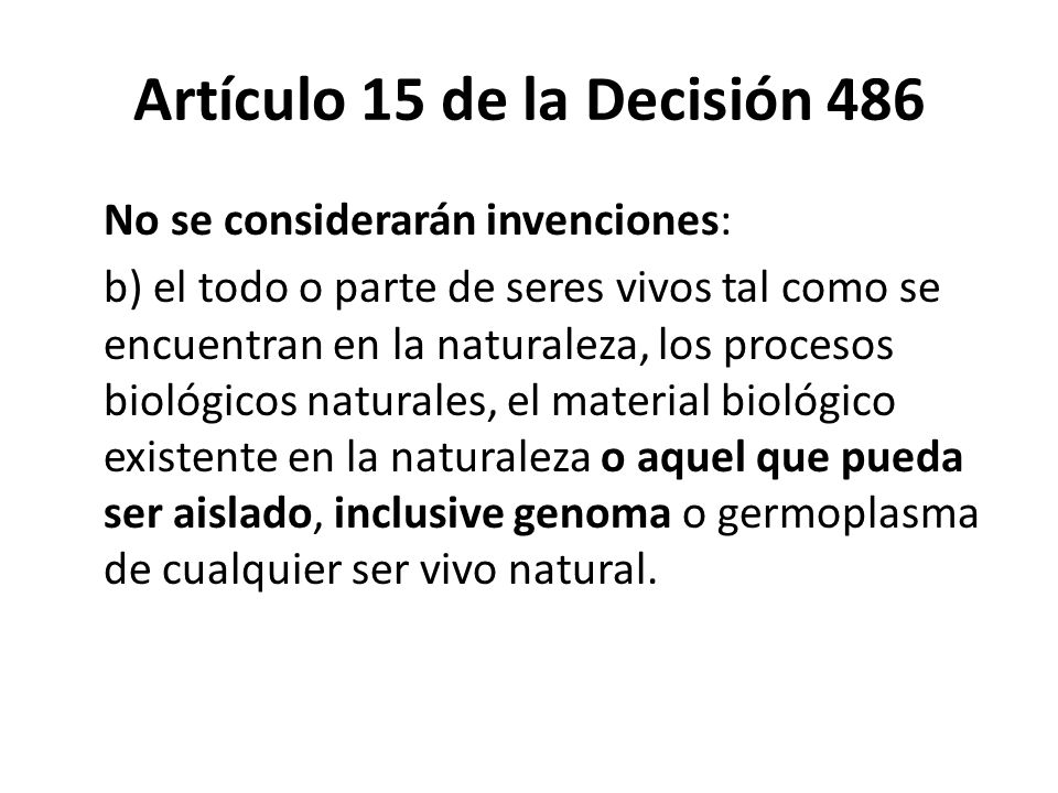 Artículo 15 de la Decisión 486