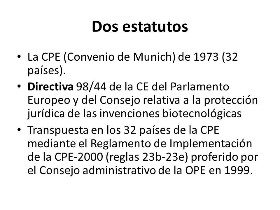 Dos estatutos La CPE (Convenio de Munich) de 1973 (32 países).