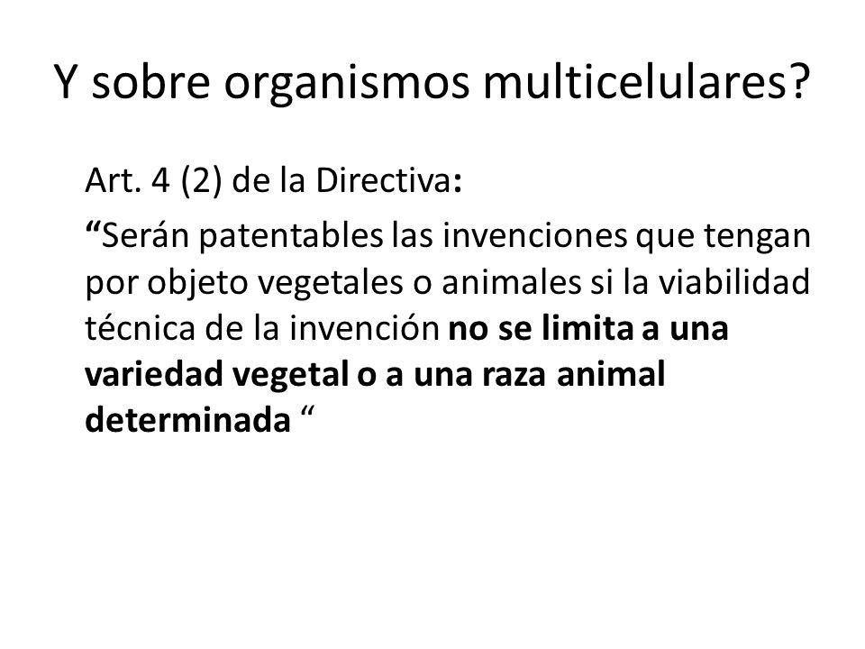 Y sobre organismos multicelulares