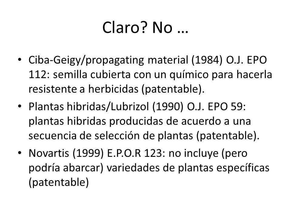Claro No … Ciba-Geigy/propagating material (1984) O.J. EPO 112: semilla cubierta con un químico para hacerla resistente a herbicidas (patentable).