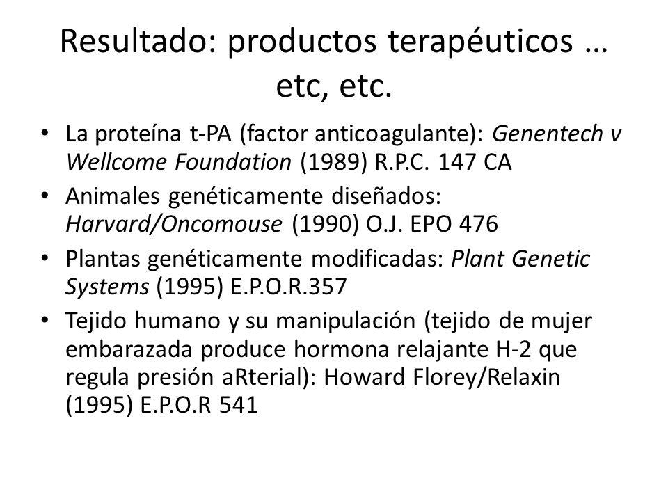 Resultado: productos terapéuticos … etc, etc.