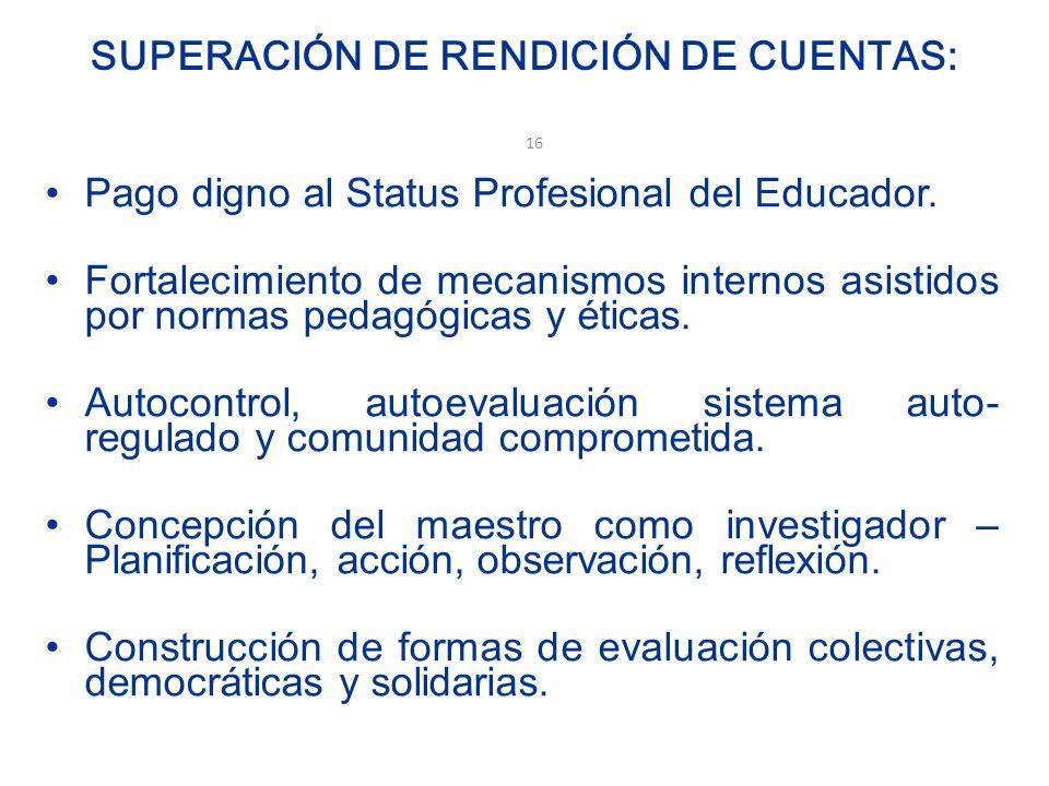 SUPERACIÓN DE RENDICIÓN DE CUENTAS: