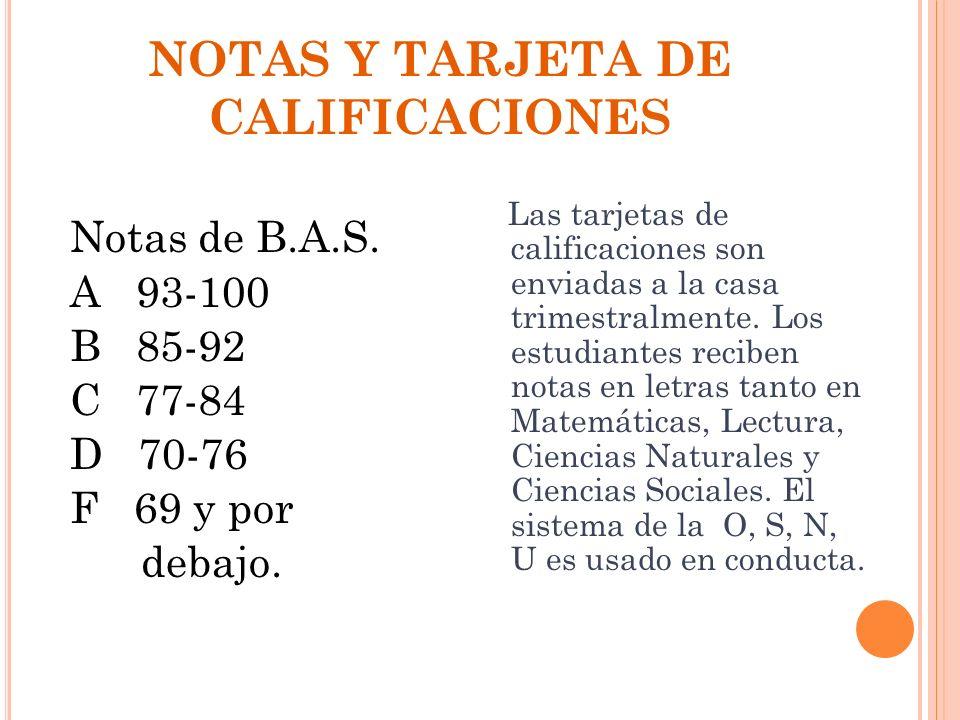 NOTAS Y TARJETA DE CALIFICACIONES
