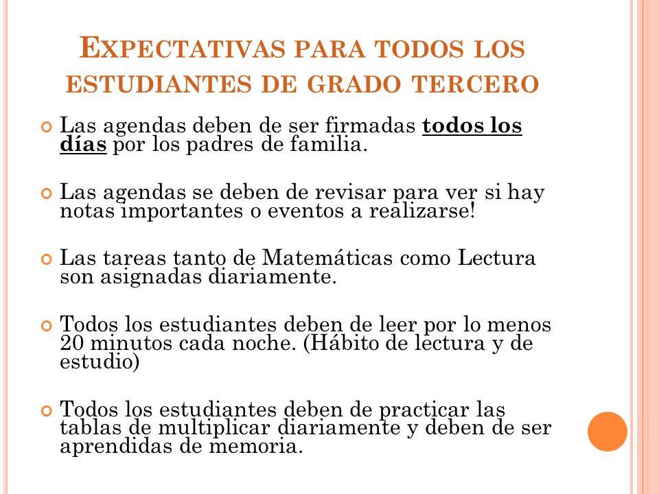 Expectativas para todos los estudiantes de grado tercero
