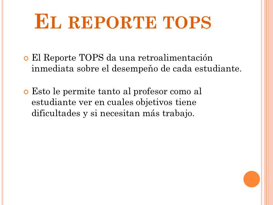 El reporte tops El Reporte TOPS da una retroalimentación inmediata sobre el desempeňo de cada estudiante.