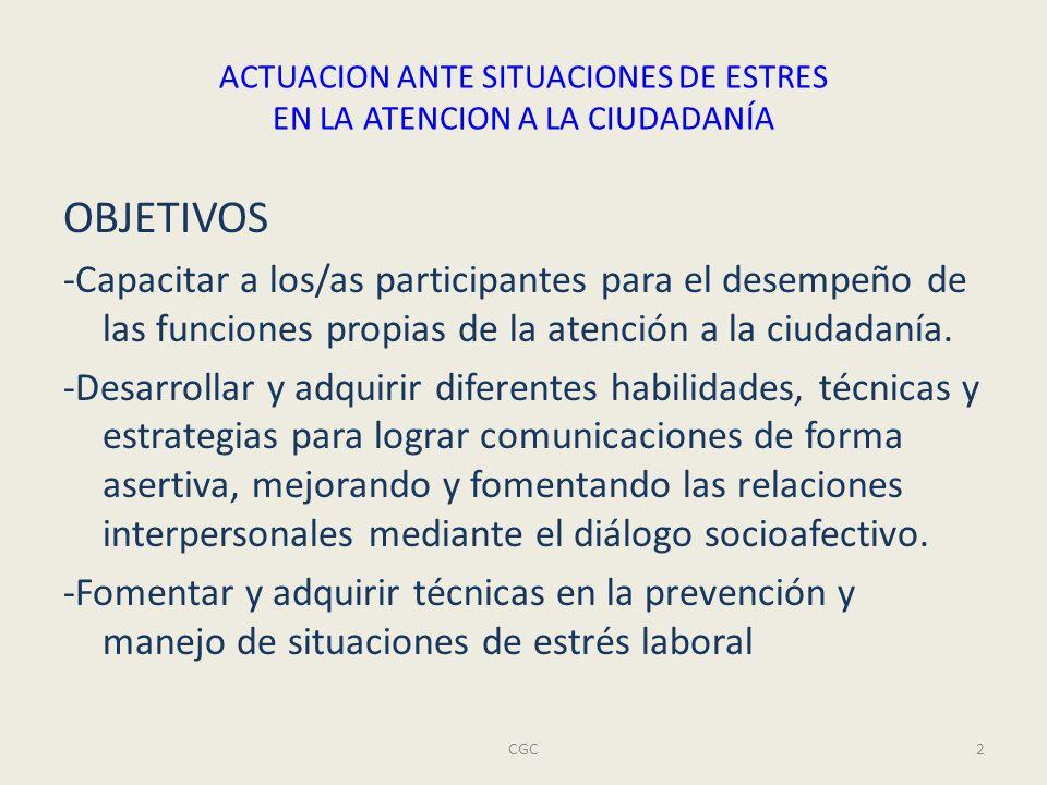 ACTUACION ANTE SITUACIONES DE ESTRES EN LA ATENCION A LA CIUDADANÍA