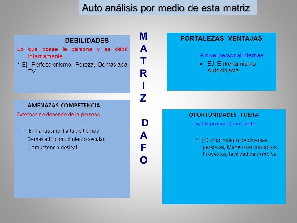M A T R I Z D A F O Auto análisis por medio de esta matriz