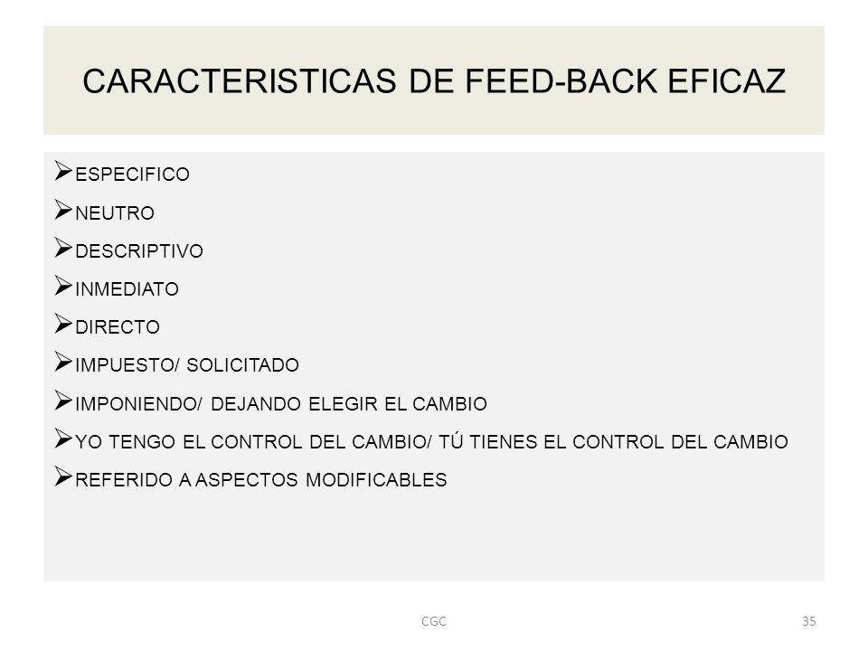 CARACTERISTICAS DE FEED-BACK EFICAZ