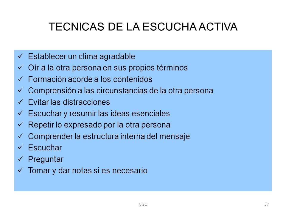 TECNICAS DE LA ESCUCHA ACTIVA