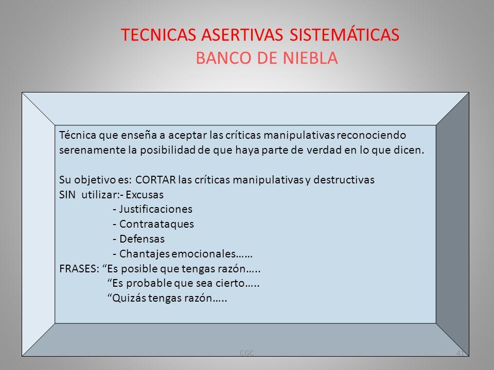 TECNICAS ASERTIVAS SISTEMÁTICAS BANCO DE NIEBLA
