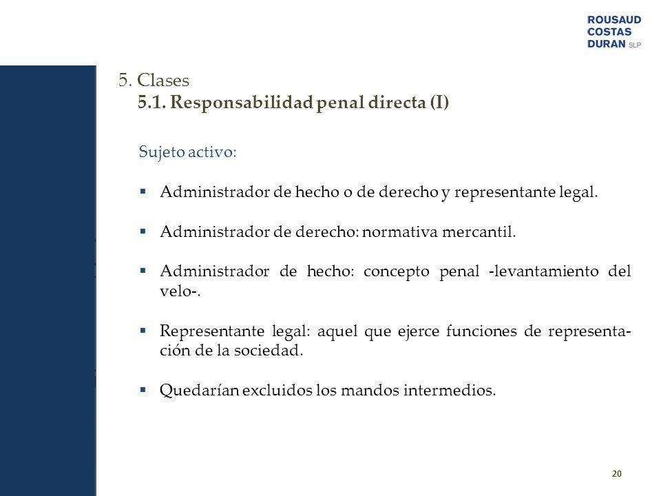 5.1. Responsabilidad penal directa (I)