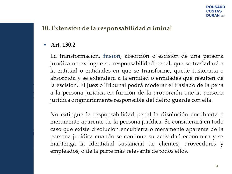 10. Extensión de la responsabilidad criminal