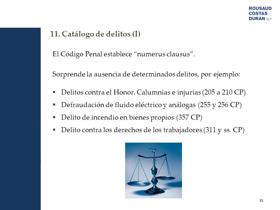 11. Catálogo de delitos (I)
