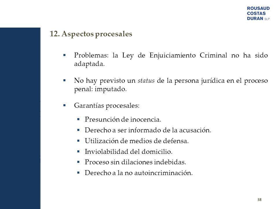 12. Aspectos procesales Problemas: la Ley de Enjuiciamiento Criminal no ha sido adaptada.