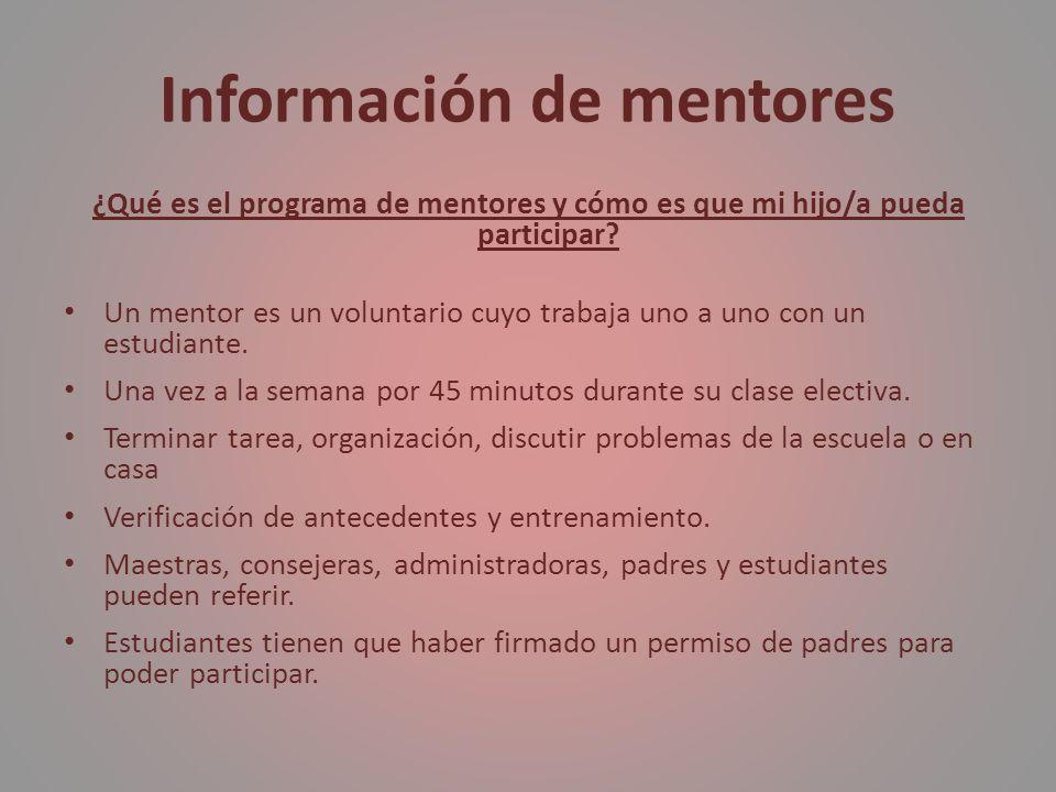 Información de mentores