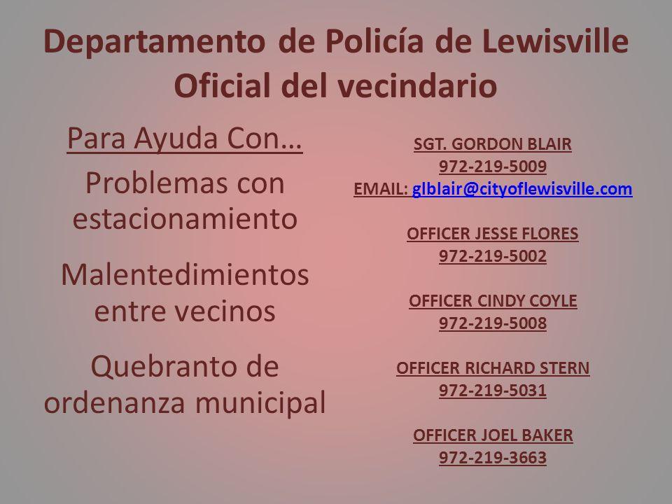 Departamento de Policía de Lewisville Oficial del vecindario