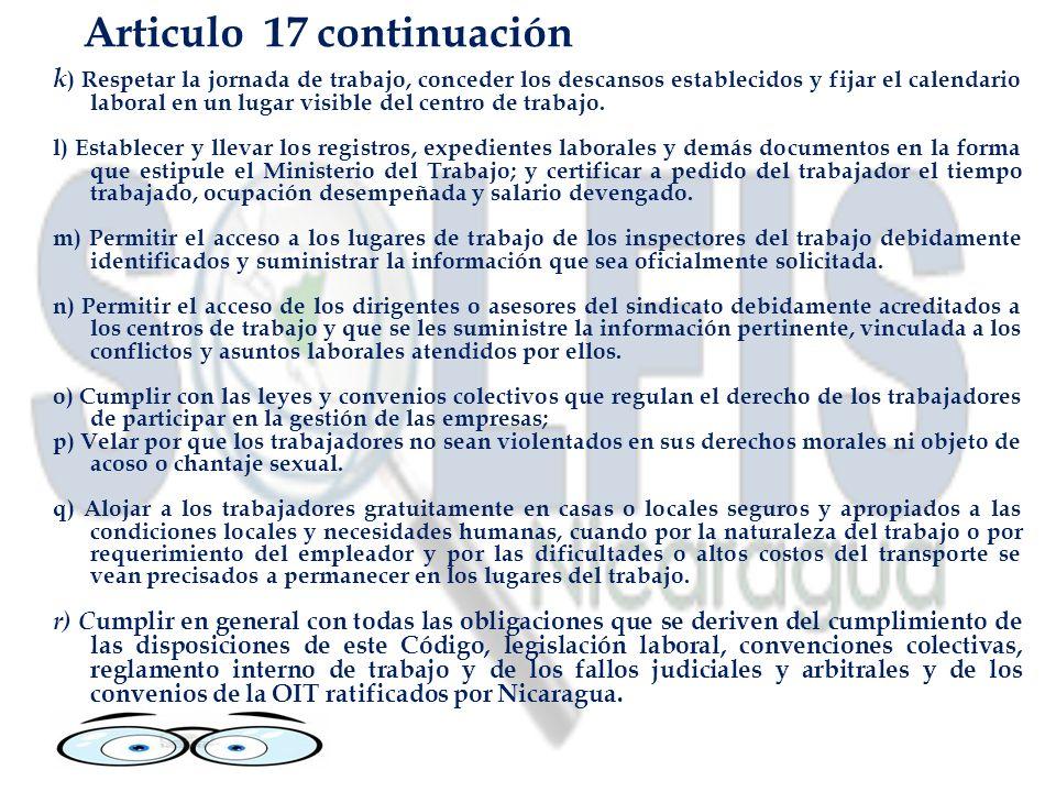 Articulo 17 continuación