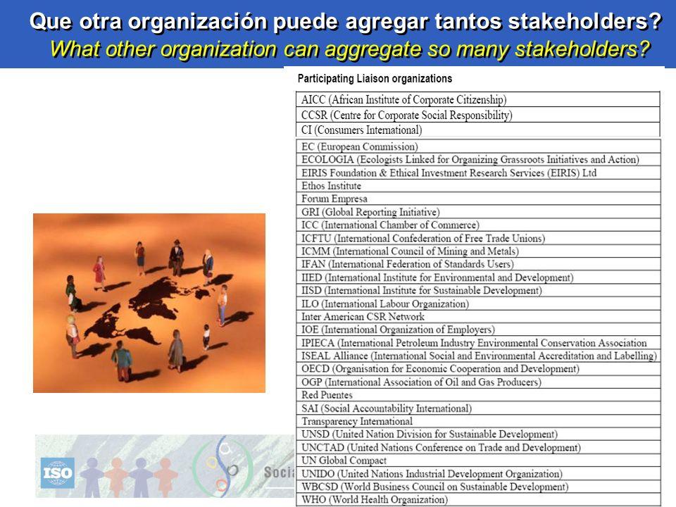 Que otra organización puede agregar tantos stakeholders