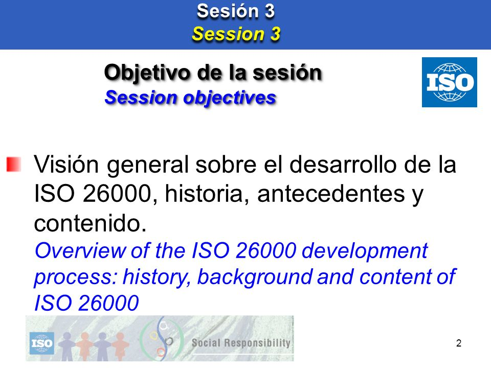 Sesión 3 Session 3. Objetivo de la sesión. Session objectives.