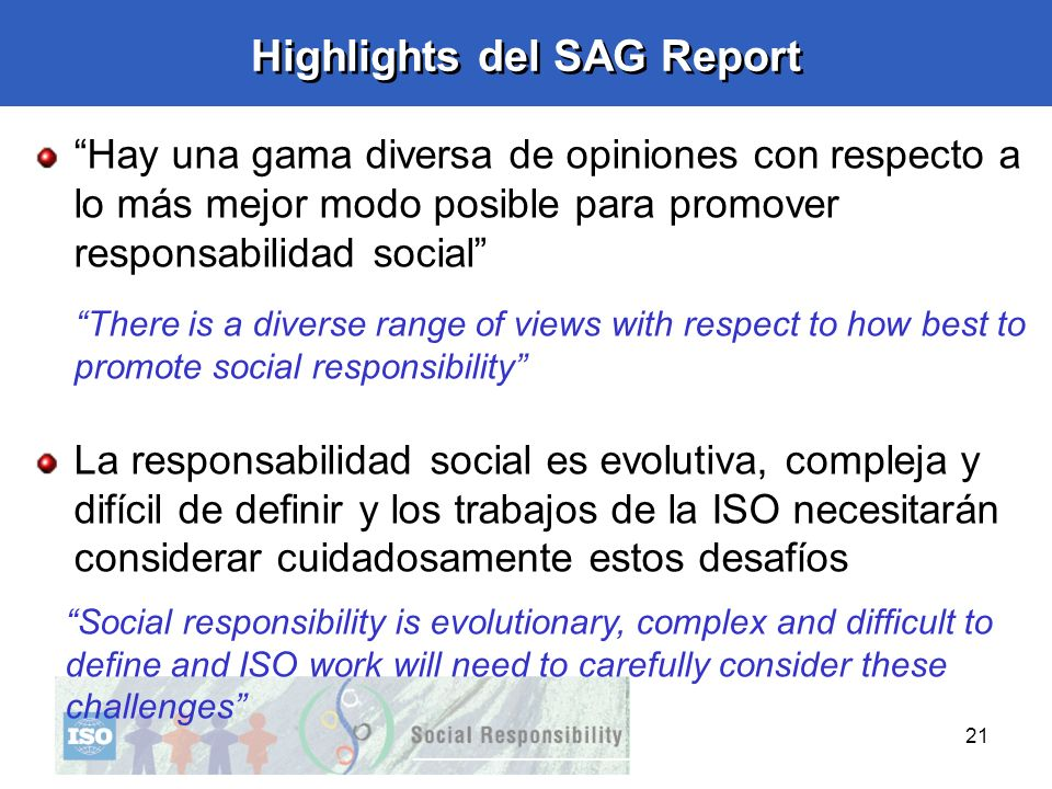 Highlights del SAG Report