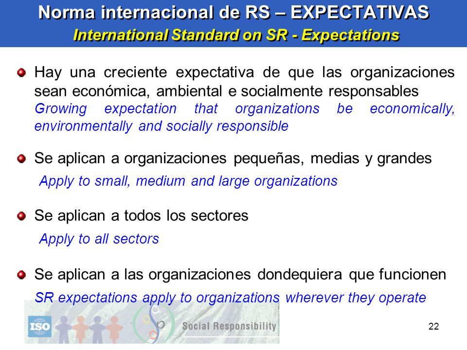 Norma internacional de RS – EXPECTATIVAS International Standard on SR - Expectations