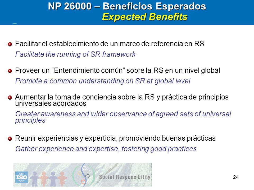 NP 26000 – Beneficios Esperados