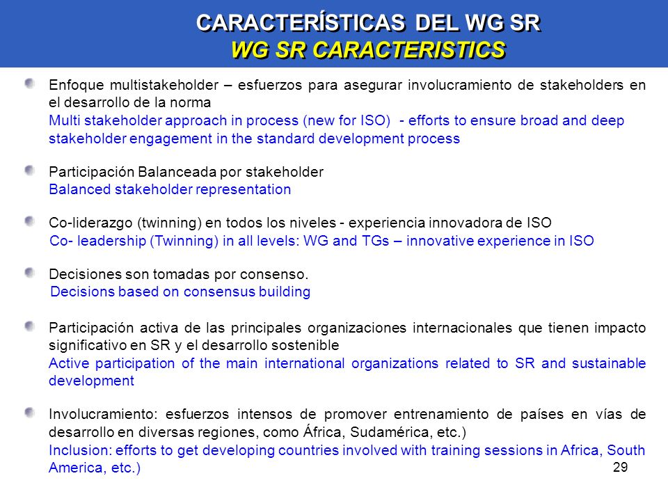 CARACTERÍSTICAS DEL WG SR