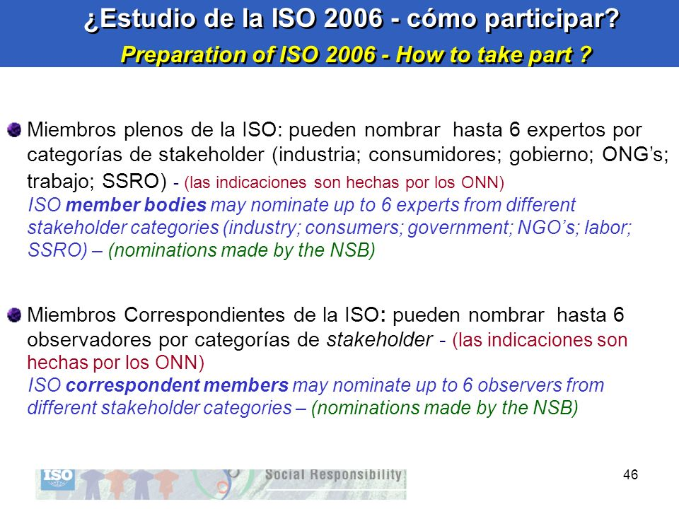 Preparation of ISO 2006 - How to take part