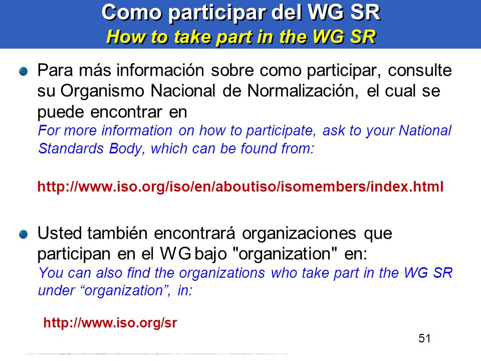 Como participar del WG SR How to take part in the WG SR