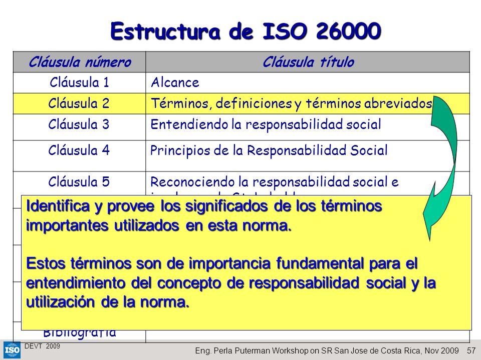 Estructura de ISO 26000 Cláusula número. Cláusula título. Cláusula 1. Alcance. Cláusula 2. Términos, definiciones y términos abreviados.