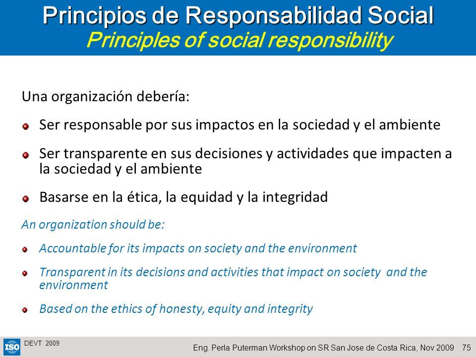Principios de Responsabilidad Social Principles of social responsibility