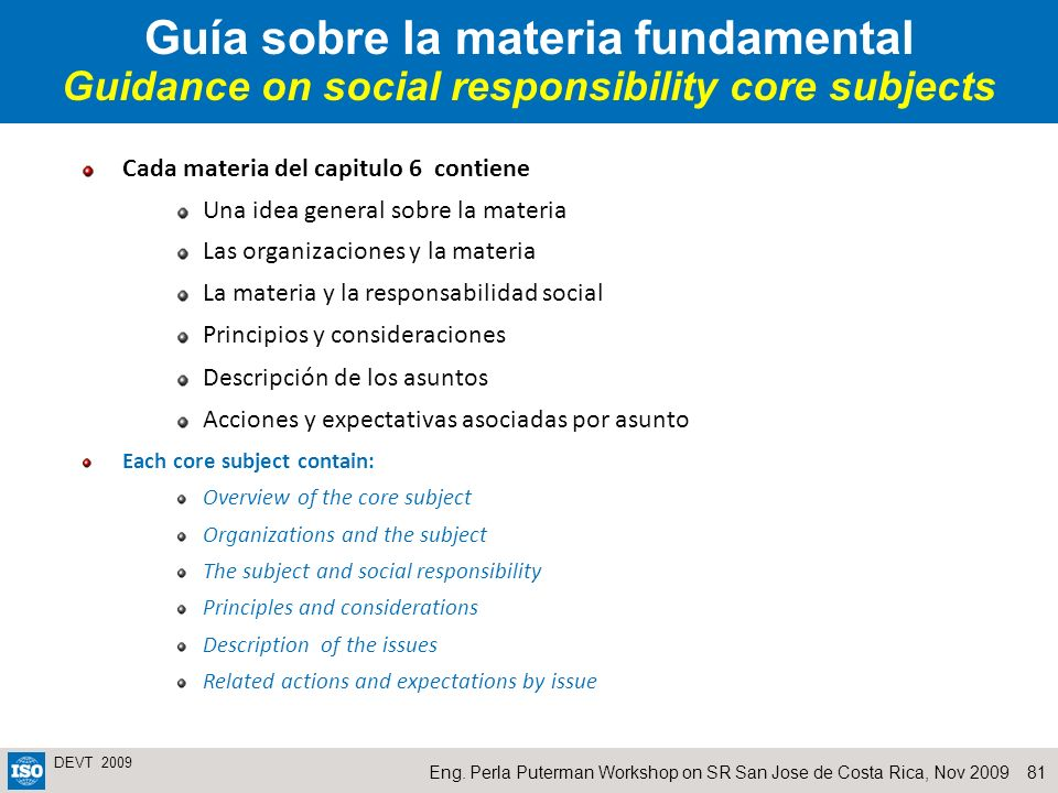 Guía sobre la materia fundamental Guidance on social responsibility core subjects