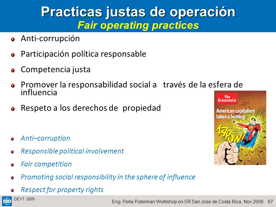 Practicas justas de operación Fair operating practices