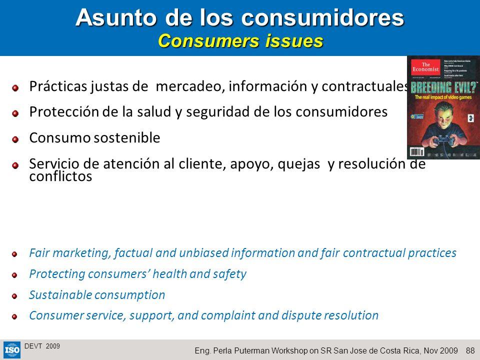 Asunto de los consumidores Consumers issues